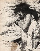 Francesco Paolo MICHETTI - Dessin-Aquarelle - LA BRACE (young boy warming up next to a brazier), ante 1883