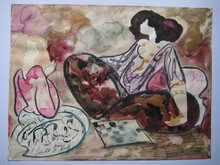 Linda LE KINFF - Drawing-Watercolor - DESSIN AQUARELLE GOUACHE SIGNÉ SIGNED WATERCOLOR DRAWING