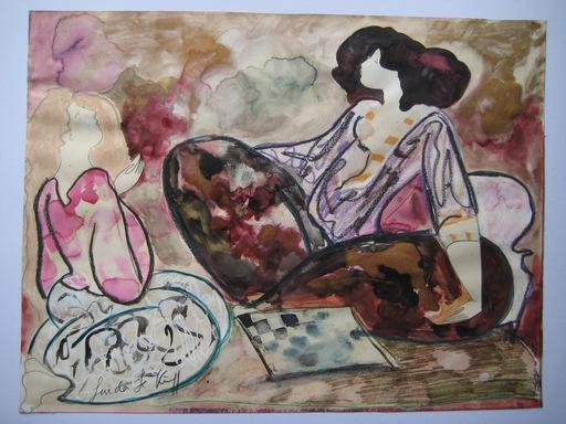 Linda LE KINFF - Zeichnung Aquarell - DESSIN AQUARELLE GOUACHE SIGNÉ SIGNED WATERCOLOR DRAWING