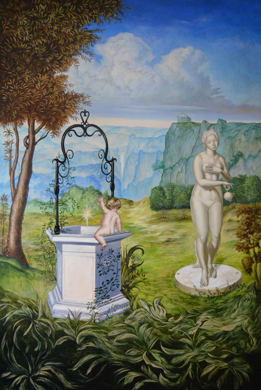 Carlos SABLÓN - Peinture - La Fortune et Le Jeune Enfant