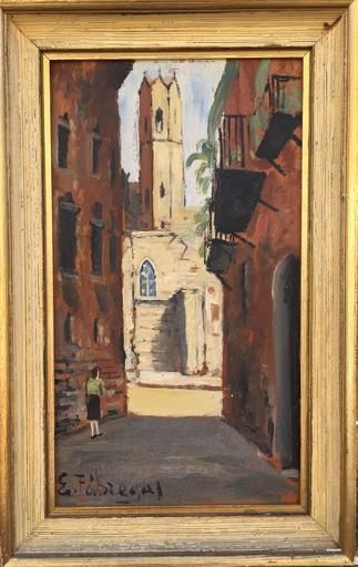 Emili FABREGAS - Gemälde - Rue de village bajada sainte clara
