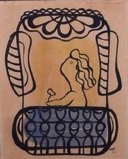Amelia PELAEZ - Painting - Woman Balcony