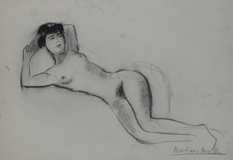 """Cirilo MARTÍNEZ NOVILLO - Drawing-Watercolor - """"Desnudo"""""""