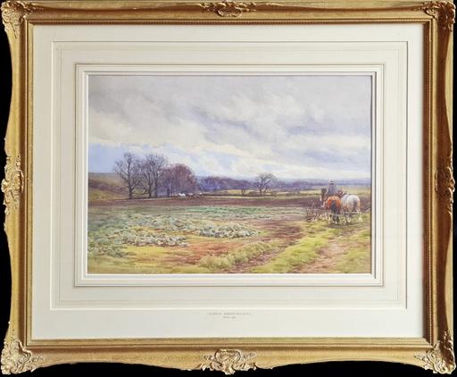 Claude HAYES - Disegno Acquarello - Tilling the Land