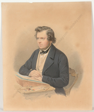 "Franz WOLF - Miniature - Franz Wolf (1795-1859) ""Self-portrait"", watercolor, 1844"