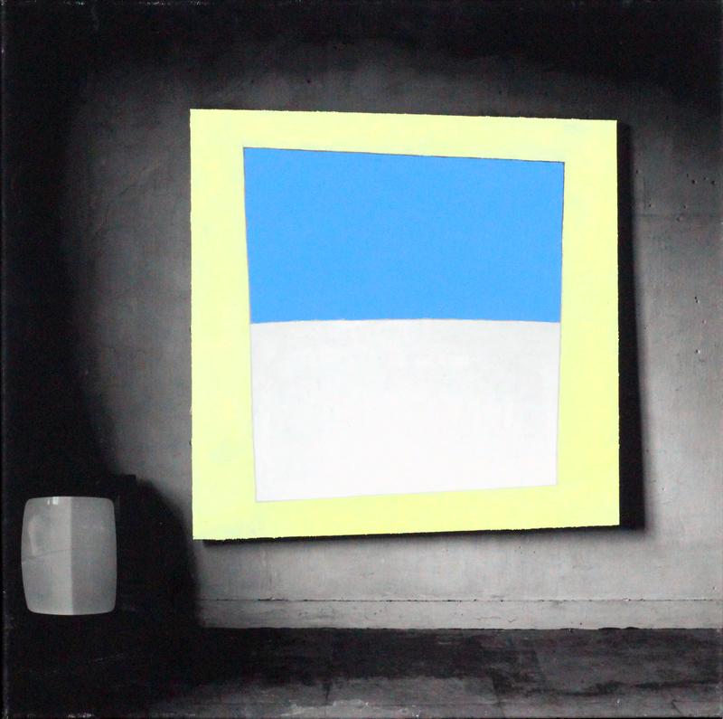 Jacques VAN DER HEYDEN - Peinture - Horizon in geel kader