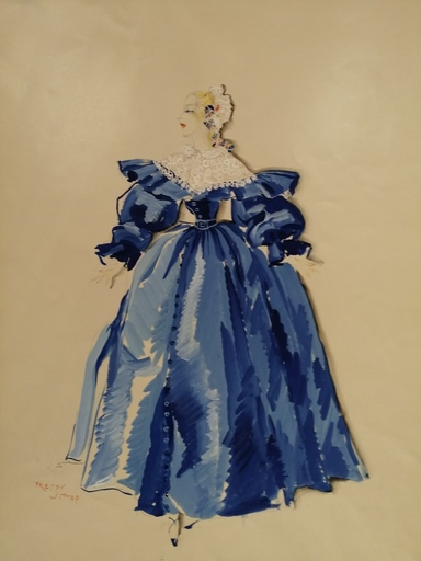 Freddy WITTOP - Dibujo Acuarela - La robe bleue