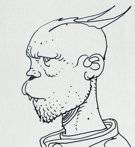 Enki BILAL - Drawing-Watercolor - GUERRIER issu de « Partie de chasse »