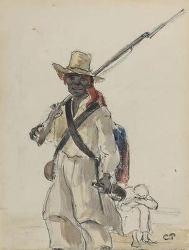 卡米耶•毕沙罗 - 水彩作品 - Homme au chapeau de paille tenant un fusil et une bouteille
