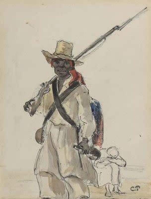 Camille PISSARRO - Dessin-Aquarelle - Homme au chapeau de paille tenant un fusil et une bouteille
