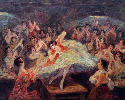 Pedro ISERN ALIÉ - Painting - Bailar flamenco