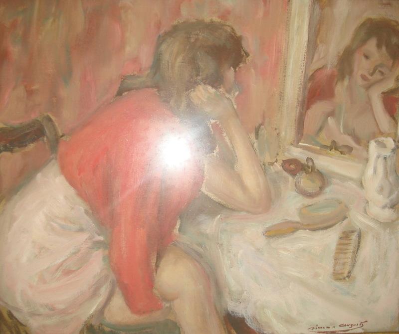 Simon SIMON-AUGUSTE - Pintura - JEUNE FEMME AU MIROIR