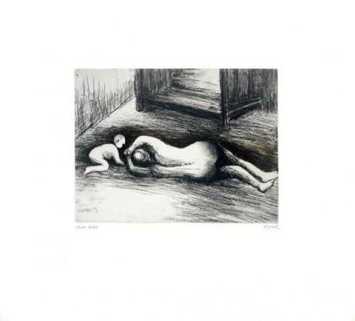 亨利•摩尔 - 版画 - Mother And Child XV