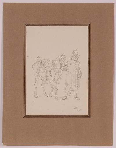 """Vincenz Georg KININGER - Disegno Acquarello - """"Napoleonic Dragoon"""" by Vincenz Georg Kininger, ca 1810"""