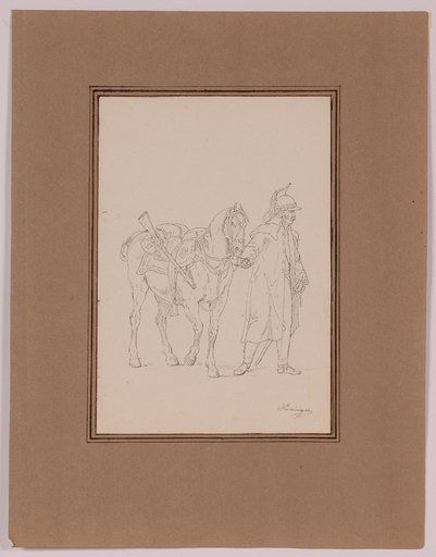 "Vincenz Georg KININGER - Zeichnung Aquarell - ""Napoleonic Dragoon"" by Vincenz Georg Kininger, ca 1810"