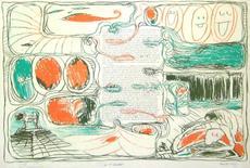 Pierre ALECHINSKY - Grabado - Placards – Pour Claude Simon, 1975