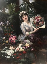 Christian Henri ROULLIER - Pintura - A Beautiful Florist Arranging a Bouquet of Flowers