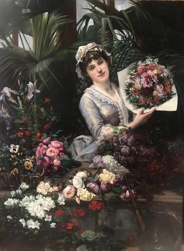 Christian Henri ROULLIER - Pittura - A Beautiful Florist Arranging a Bouquet of Flowers