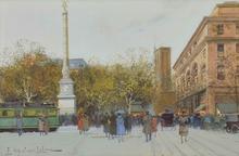 Eugène GALIEN-LALOUE - Drawing-Watercolor - Place du Châtelet