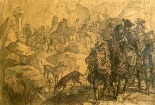 Alexandre C.G. PRÉVOST - Drawing-Watercolor - ROMERIA -  Espagne - CAVALIERS – LEVRIERS – CONTREBANDIERS