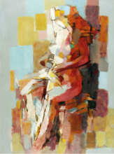 Jean CHEVOLLEAU - Peinture - Nu assis