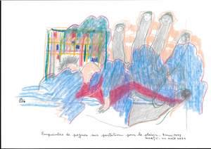 """Reine BUD-PRINTEMS - Zeichnung Aquarell - """"Empreintes de pognes sur partition pour le plaisir"""""""