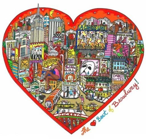 Charles FAZZINO - Print-Multiple -  The heartbeat of Broadway