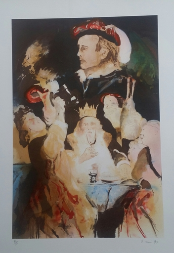 Enrico VISANI - Grabado - Hommage au peintre Jacob Jordaens - Le roi boit.