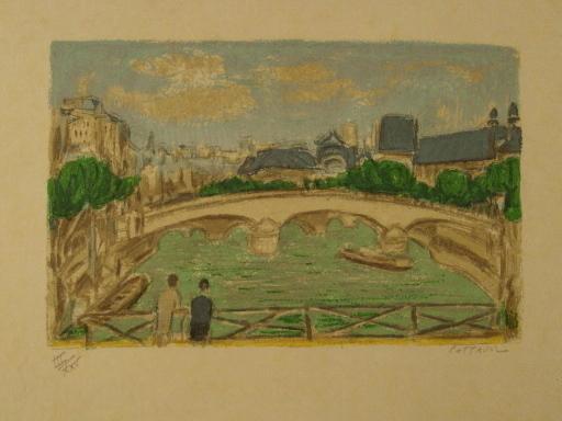 アンドレ・コタボ - 版画 - Paris,Le Pont des Arts,1985.