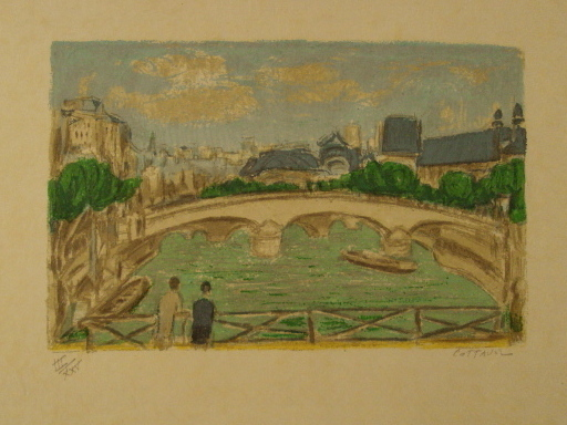 André COTTAVOZ - Estampe-Multiple - Paris,Le Pont des Arts,1985.