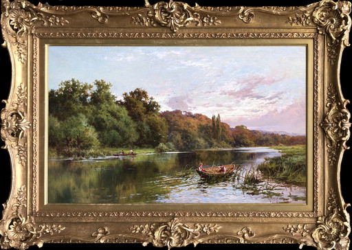 Henry H. PARKER - Painting - Boating On The Thames, Cliveden Woods