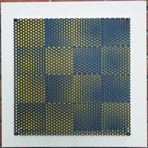 Antonio ASIS - Sculpture-Volume - Vibration 16 carrés blue et jaune
