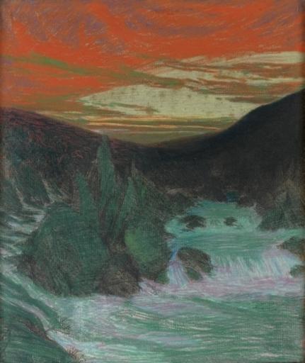 Charles Marie DULAC - 水彩作品 - Le Grand-Rocher (Fontaine de Vaucluse)