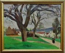 Robert LOTIRON - Pittura - Vue de village animée