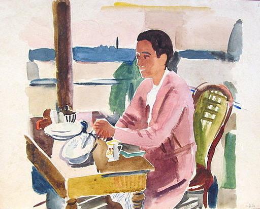 Erich HARTMANN - Dibujo Acuarela - #19942: Frau am Tisch.