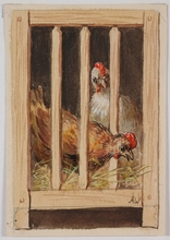 "Alfred WESEMANN - Dibujo Acuarela - ""Hen in Coop"" by Alfred Wesemann, ca 1900"