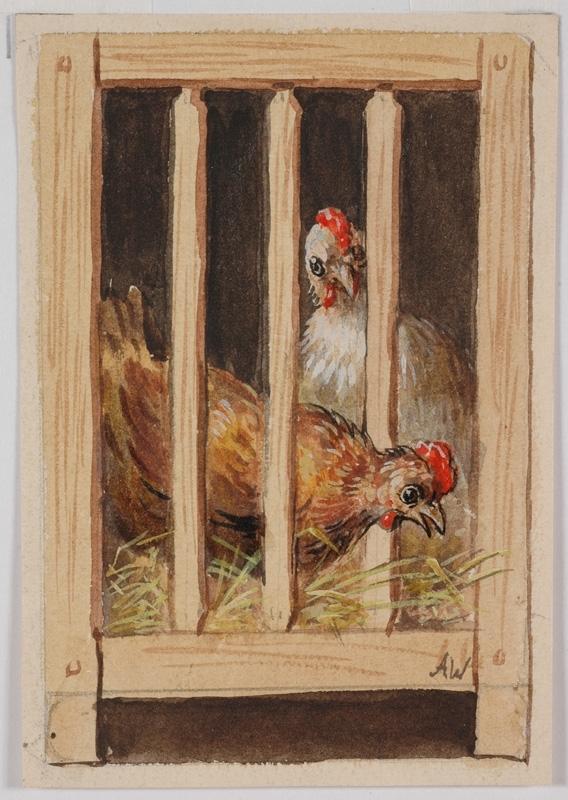 """Alfred WESEMANN - Zeichnung Aquarell - """"Hen in Coop"""" by Alfred Wesemann, ca 1900"""