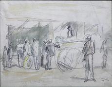 Jules PASCIN - Drawing-Watercolor - Scene de Marche