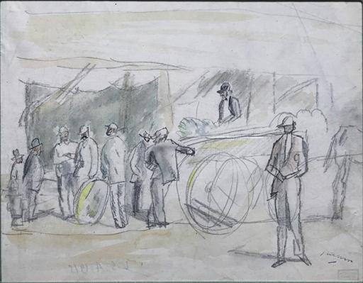 Jules PASCIN - Disegno Acquarello - Scene de Marche