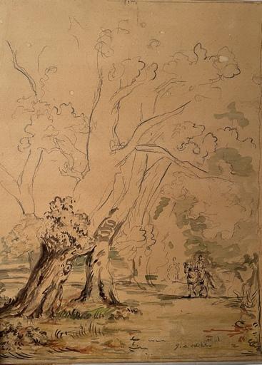 Giorgio DE CHIRICO - Drawing-Watercolor - Cavaliere in un bosco