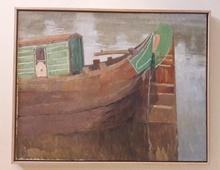 Albert BAERTSOEN - Pintura - landscape with river and boat