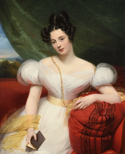 Claude Marie DUBUFE - Gemälde - Portrait présumé de Joséphine Anne Philibert de Pincepré