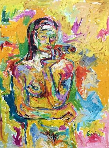 Nicole LEIDENFROST - Gemälde - Frau mit Zigarre in gelb