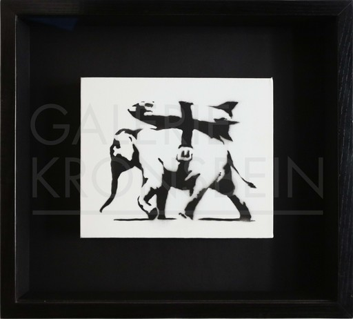BANKSY - Painting - Heavy Weaponry (unique character) stamped