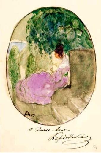 Olga DELLA-VOS-KARDOVSKAYA - Dibujo Acuarela - LADY IN THE PARK