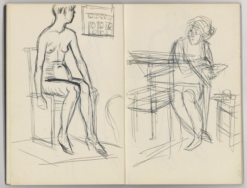Karl HUBBUCH - Drawing-Watercolor - Skizzenbuch mit 24 Zeichnungen