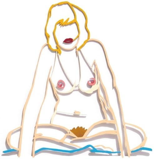 汤姆•韦瑟尔曼 - 雕塑 - Steel Drawing Edition: Monica Sitting Cross Legged