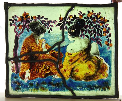 Georges MANZANA-PISSARRO - Pittura - Deux femmes au bord de l'eau