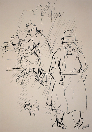 George GROSZ - Disegno Acquarello - The Way Home | Nachhause