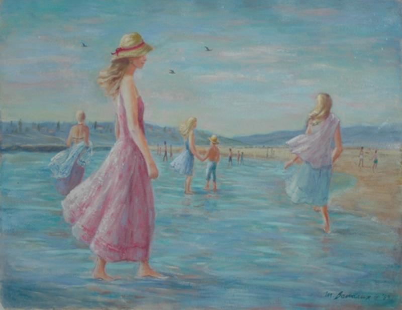Monique BAUDAUX - Painting - On the Beach